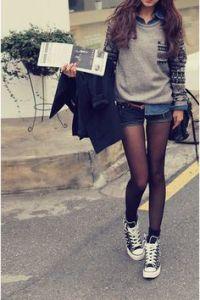 jean shorts and tights
